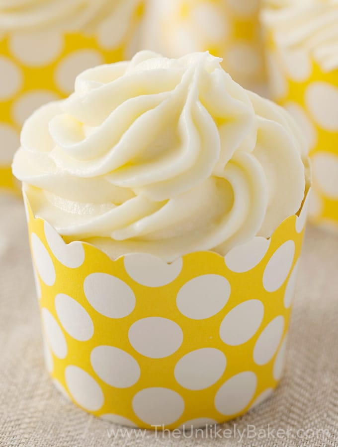 Lemon Cupcakes with Limoncello Cream Cheese Frosting