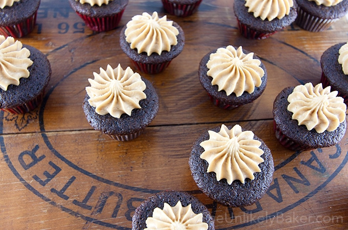 Mini Chocolate Cupcakes Peanut Butter Frosting