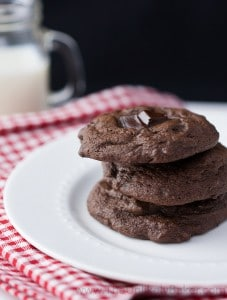 Stack of Chewy Double Chocolate Chunk Cookies