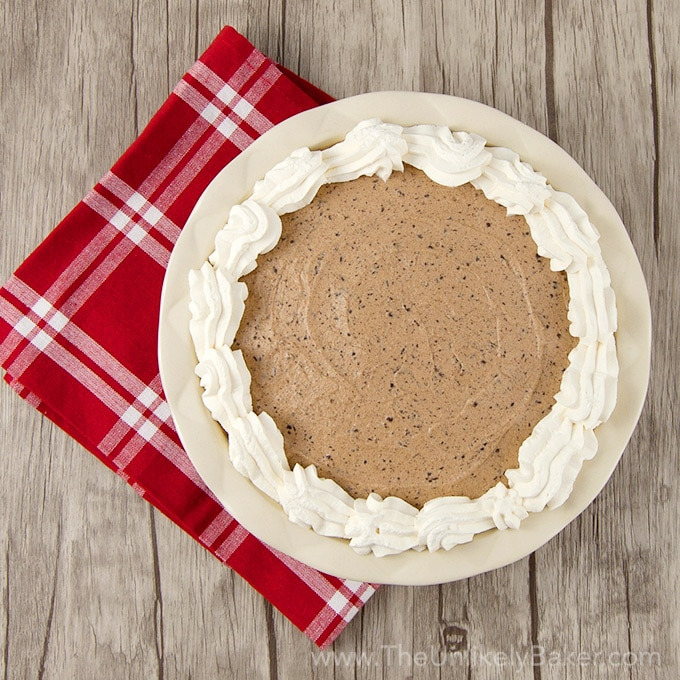 No Bake Baileys Chocolate Mousse Pie Square