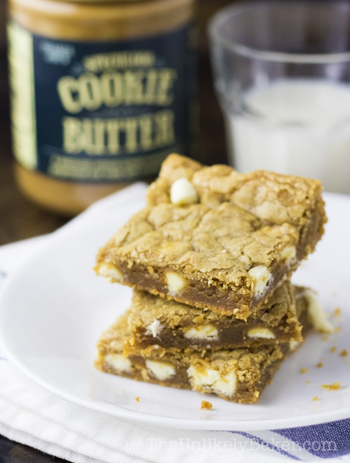 Soft and Chewy Cookie Butter Blondies with White Chocolate Chips