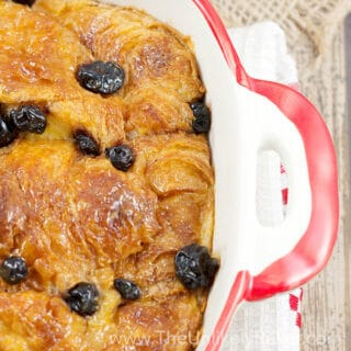 Croissant Bread Pudding with Lemon Butter and Blueberries