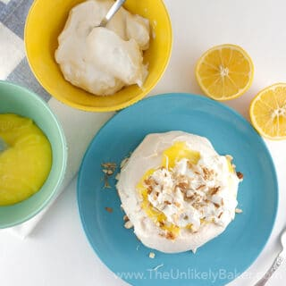Lemon Pavlova with Toasted Almonds & Coconut