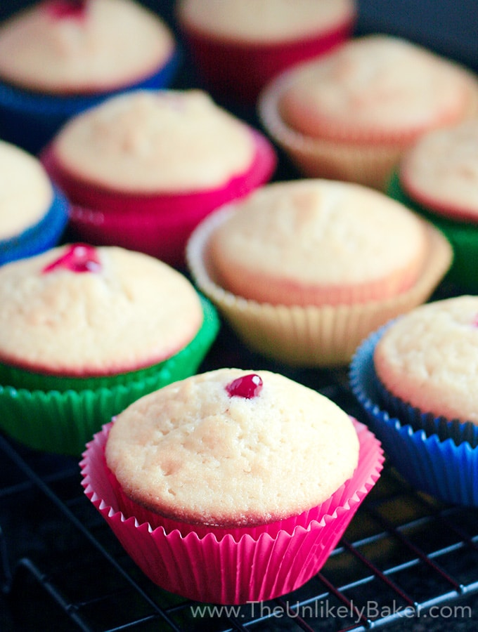 White Chocolate Cupcakes with Raspberry Filling