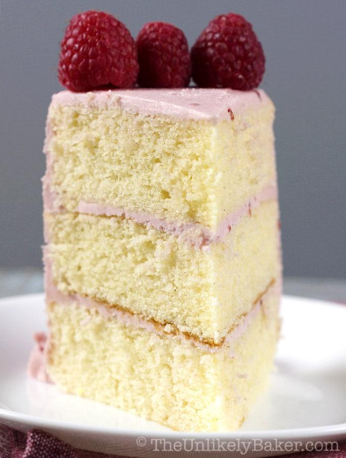 Vanilla Raspberry Cake with Raspberry Frosting