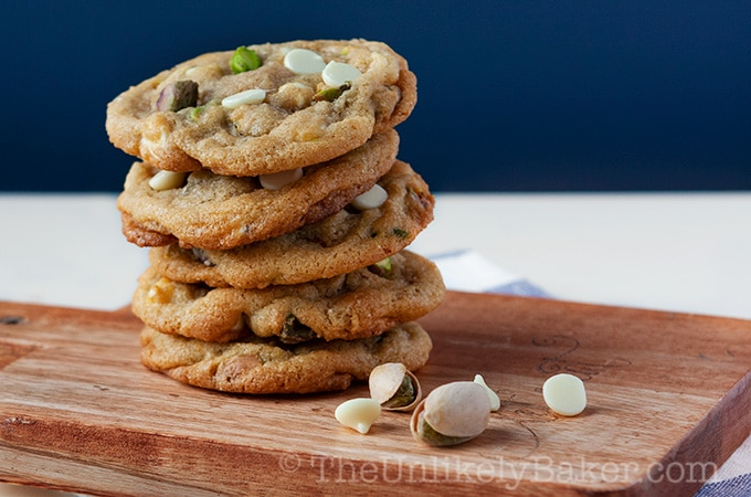 White Chocolate Chip Pistachio Cookies
