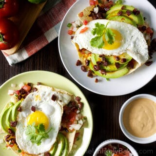 Easy Huevos Rancheros Recipe with Crispy Chorizo & Chipotle Sour Cream