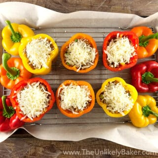 Cheesy Quinoa Stuffed Bell Peppers with Toasted Almonds