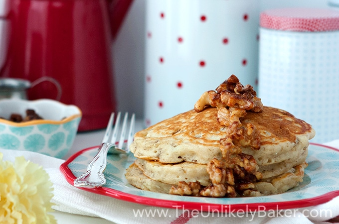 Banana Buttermilk Pancakes with Candied Walnuts - The ...