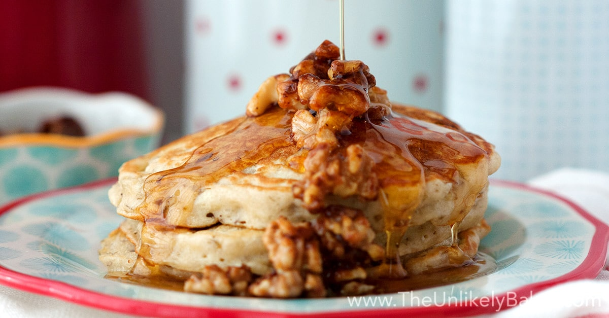 Banana Buttermilk Pancakes with Candied Walnuts