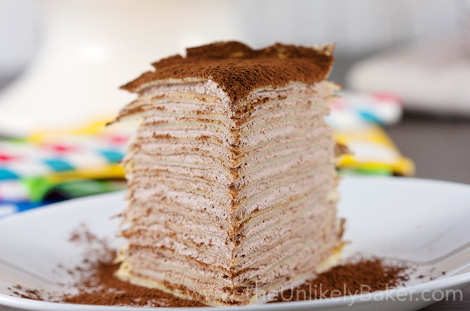 Crepe Cake with Whipped Chocolate Mascarpone Cream