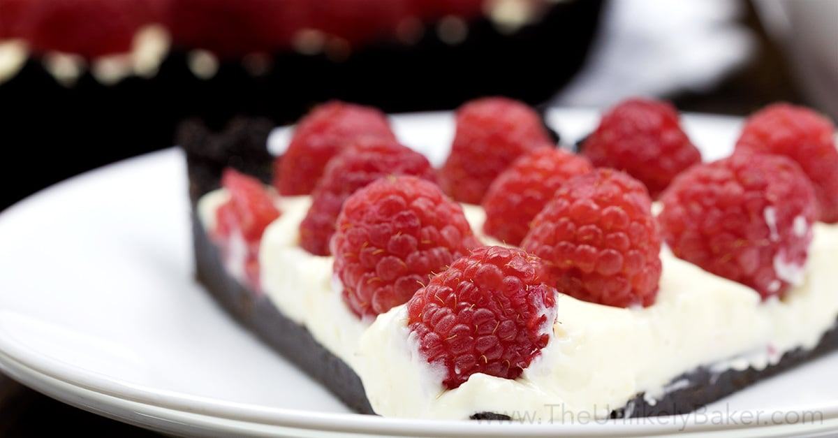 No-Bake Raspberry White Chocolate Tart (with video) - The Unlikely ...