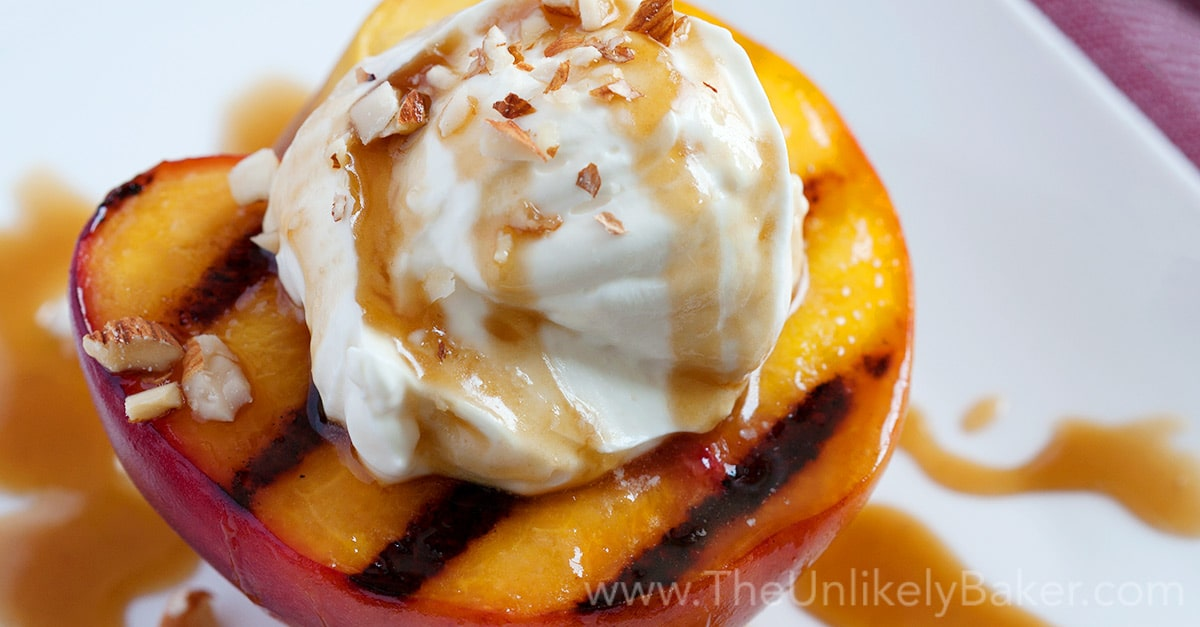Grilled Peaches with Mascarpone Cream & Bourbon Salted ...