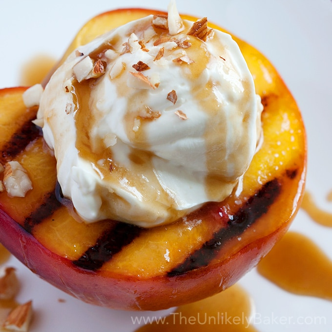 Grilled Peaches with Mascarpone Cream & Bourbon Salted Caramel Sauce