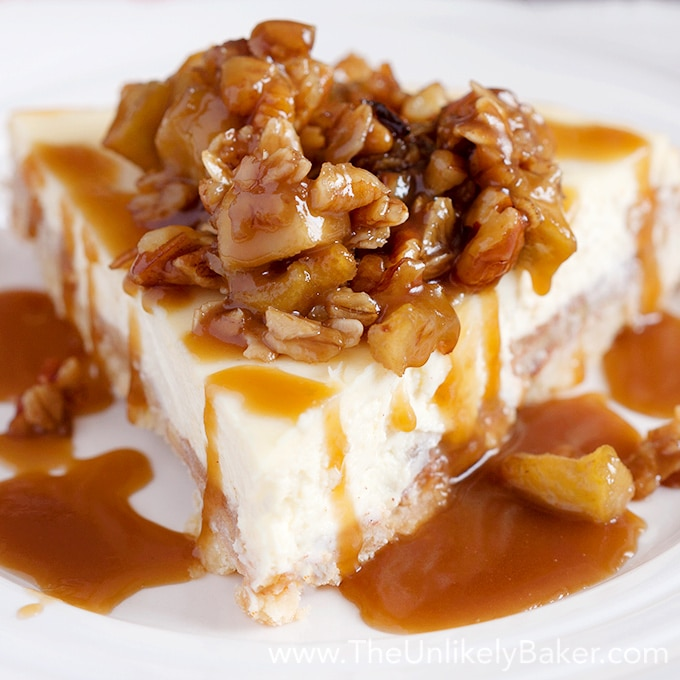 Salted Caramel Apple Cheesecake with Pecan Crisp Topping
