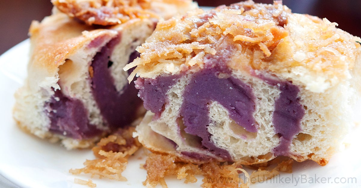 Ube Bread Rolls with Toasted Coconut