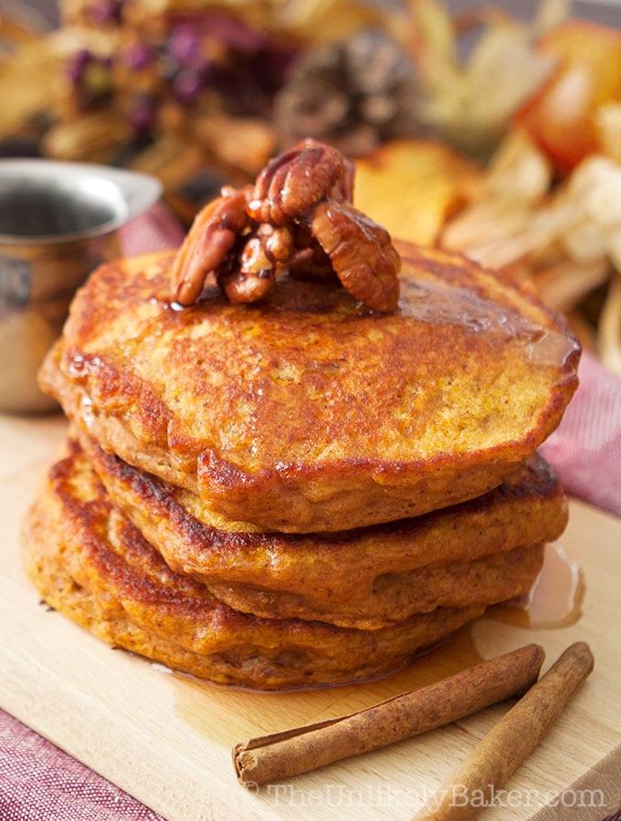 Pumpkin Buttermilk Pancakes with Candied Pecans