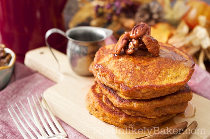 Pumpkin Buttermilk Pancakes with Candied Pecans