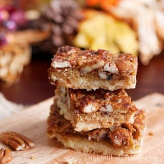 Bourbon Pecan Pie Bars with Shortbread Crust