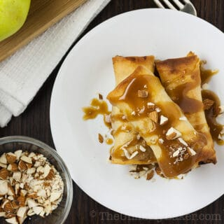 Baked Apple Turon with Salted Caramel Sauce
