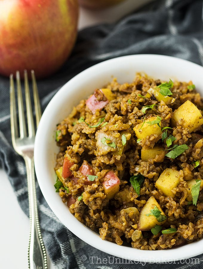 Apple Bulgur Pilaf with Turkey and Walnuts