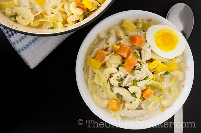 Creamy Chicken Sopas (Filipino Chicken Noodle Soup)