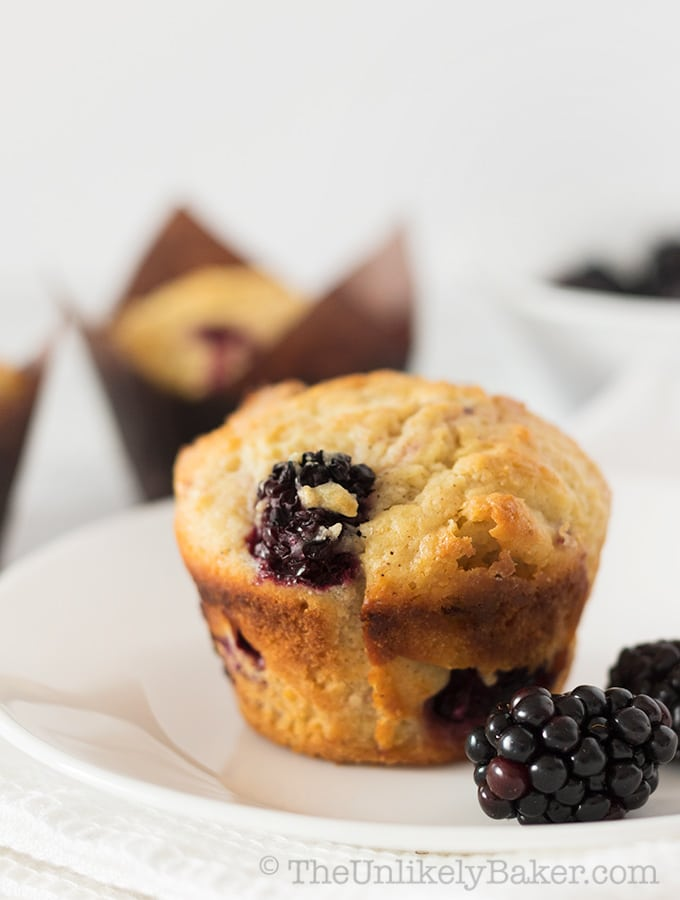 White Chocolate Blackberry Muffins