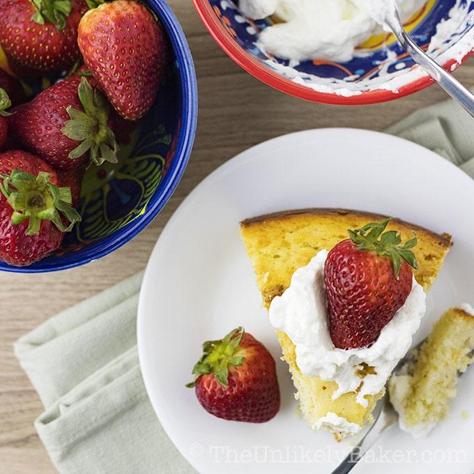 Easy Yogurt Cake with Strawberries and Cream