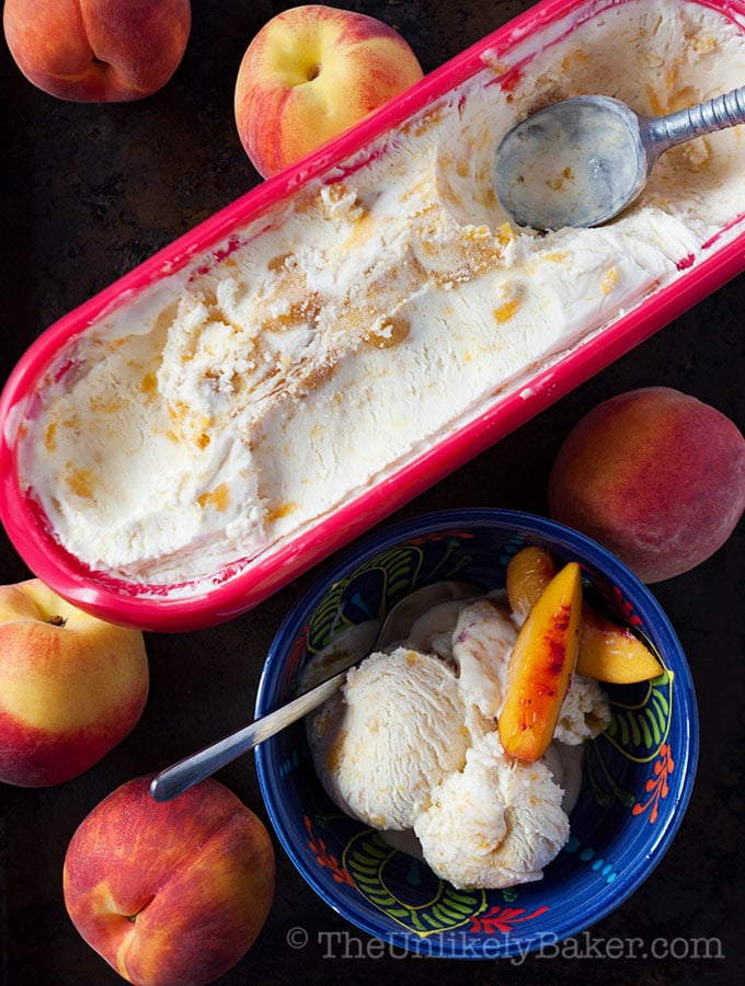 Homemade Bourbon Peach Ice Cream (No-Churn!)