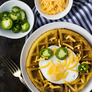 Jalapeño Cheddar Waffles with Fried Egg