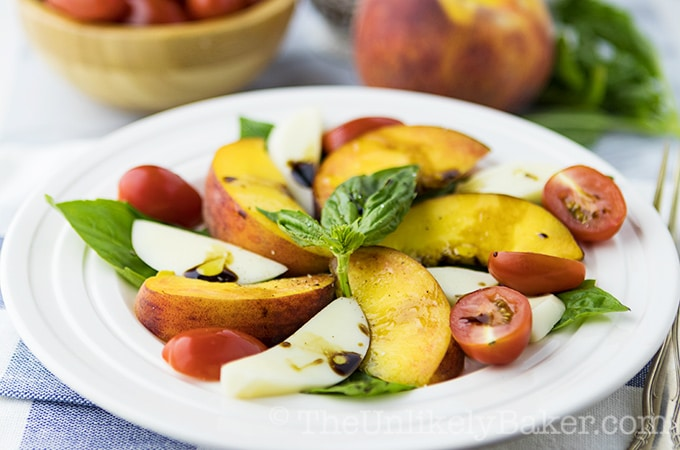 Peach Caprese Salad with Balsamic Reduction
