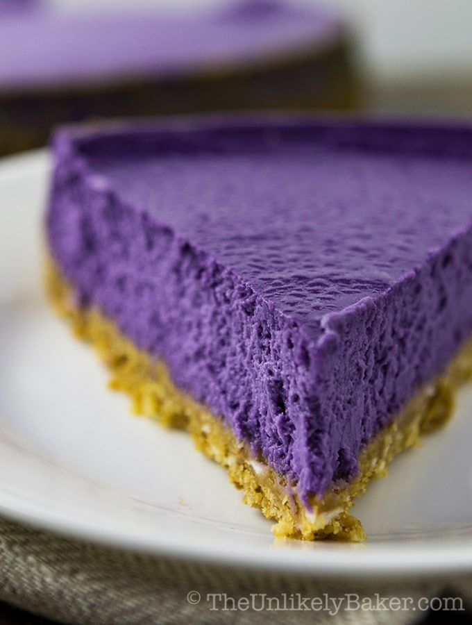 Ube Cheesecake With Coconut Cookie Crust And Coconut Whipped Cream