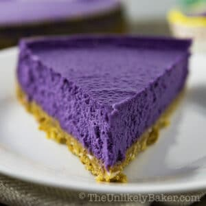 Ube Cheesecake with Coconut Cookie Crust and Coconut Whipped Cream (Video)