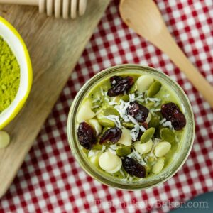 Matcha Overnight Oats with Chia and White Chocolate Chips