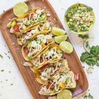 Easy Garlic Lime Chicken Tacos with Lime Crema (GF)