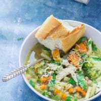 Hearty Chicken Vegetable Soup with Pasta & Beans