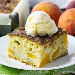 Sour Cream Peach Cake - Made with Fresh Peaches!