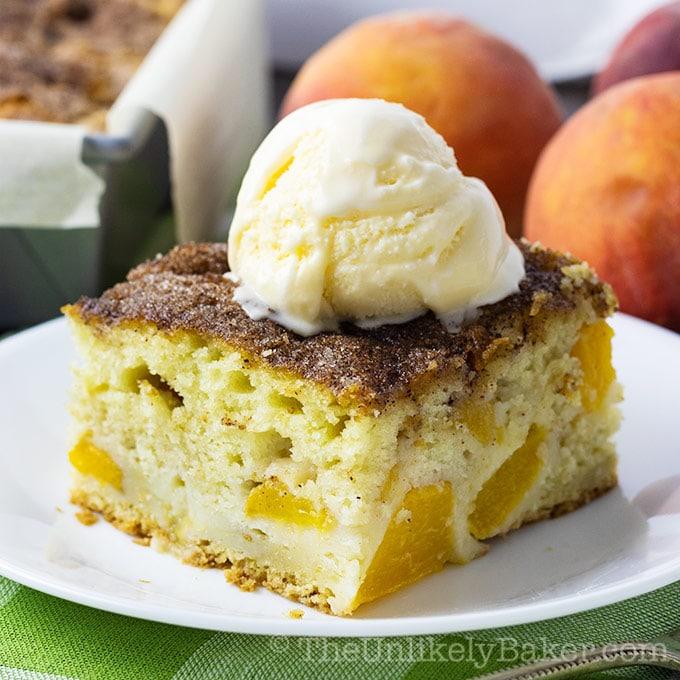 Sour Cream Peach Cake - Made with Fresh Peaches!