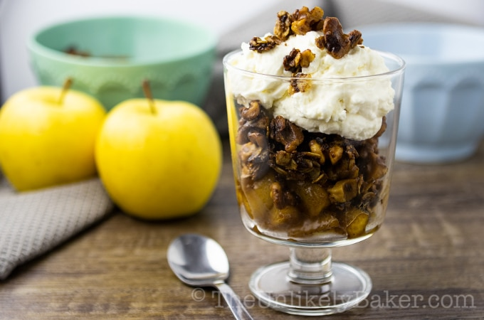 Apple Parfait with Walnut Oats Cinnamon Crisp
