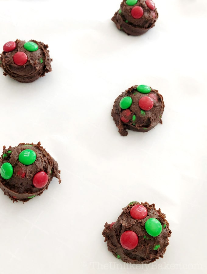 How to make double chocolate M&M cookies
