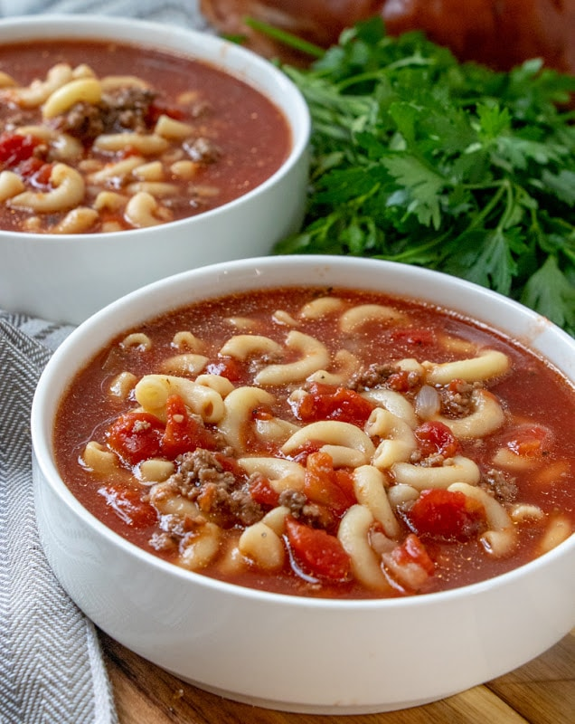 Beefy Tomato Macaroni Soup Recipe
