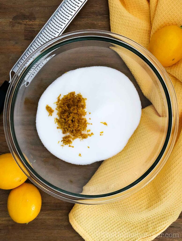 Lemon zest and sugar in a bowl