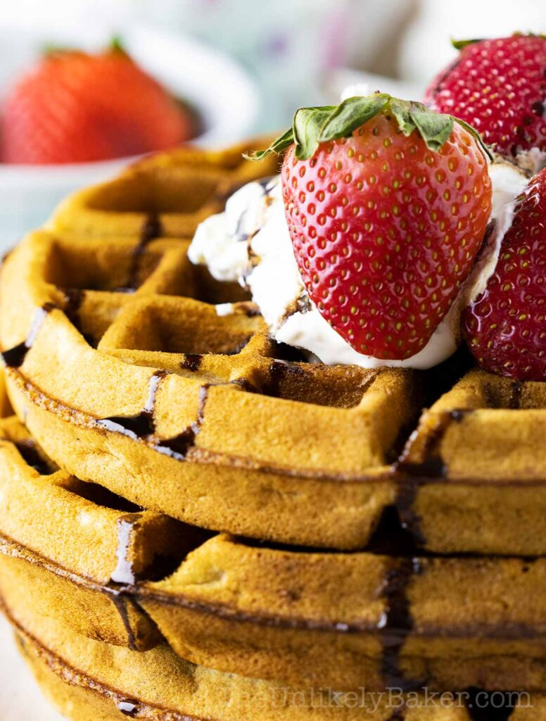 Stack of Strawberry Belgian Waffles