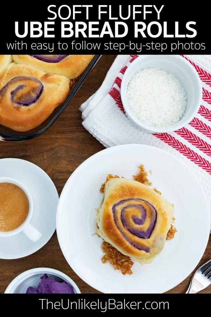 Soft Fluffy Ube Bread Rolls