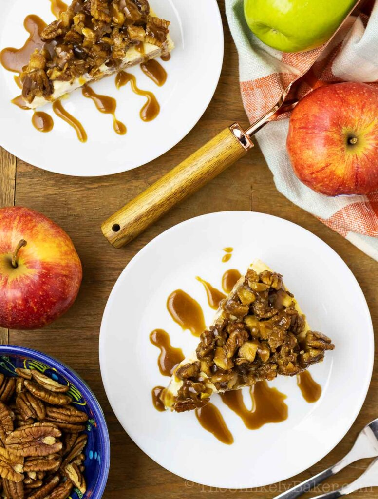 Apple Crisp Cheesecake with Salted Caramel and Pecan Apple Crisp Topping