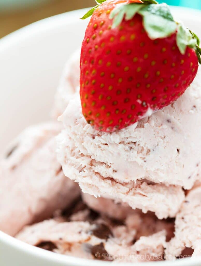 Close up of chocolate strawberry ice cream