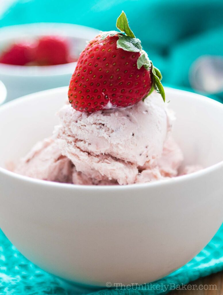 Chocolate strawberry ice cream in a bowl