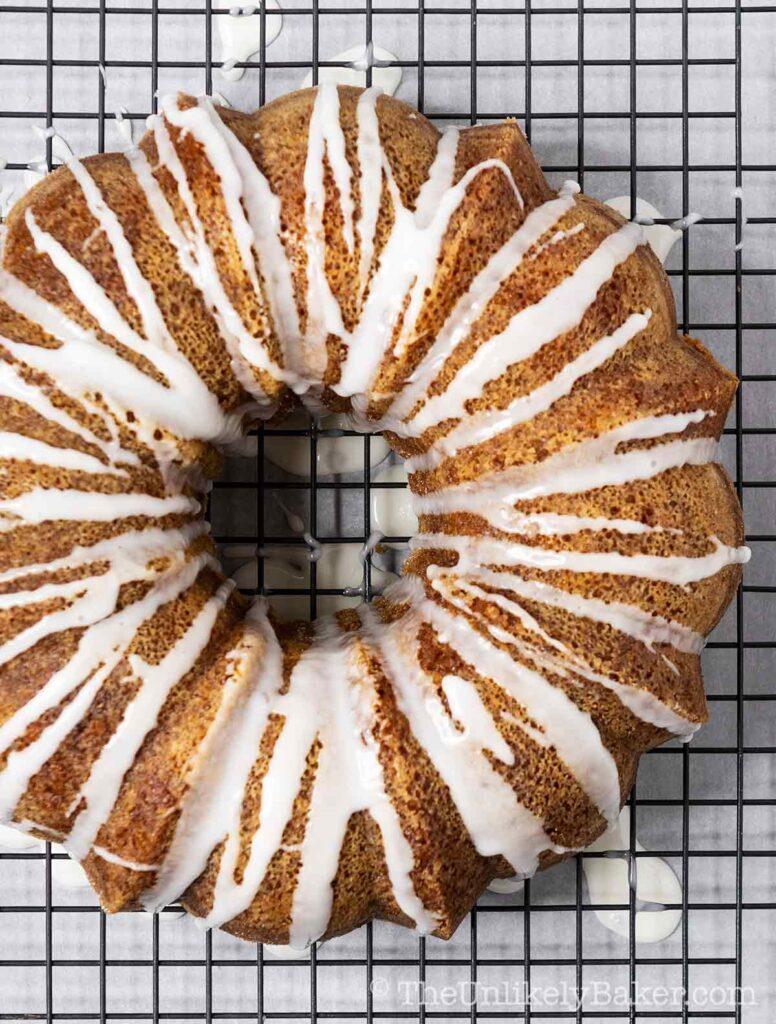 overhead shot of lemon buttermilk bundt cake