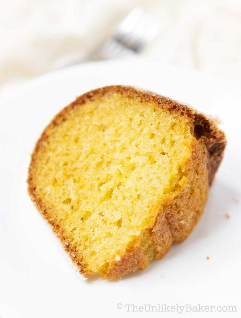 slice of lemon cake on a white plate