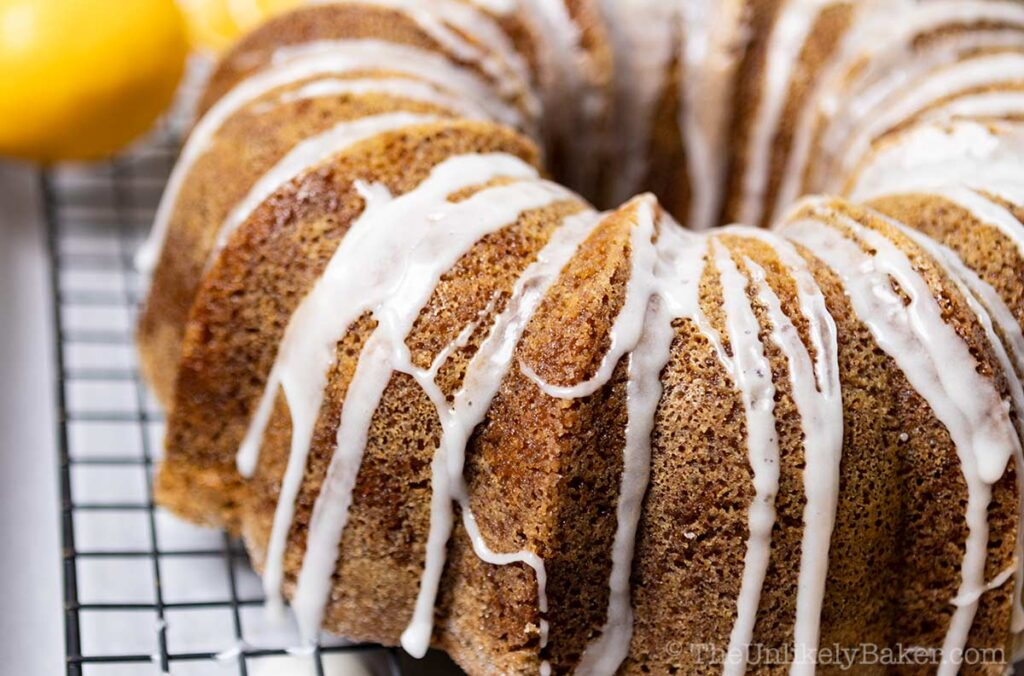 shot of lemon bundt cake with lemon drizzle